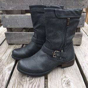 🆕!A5️⃣🌟! Luichiny Black Leather Moto Boots! NEW!